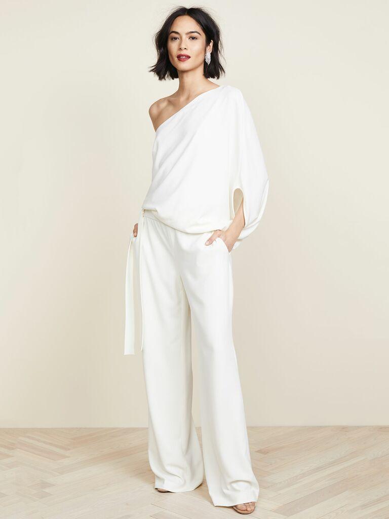 Halston Heritage asymmetrical wide leg jumpsuit - bridal jumpsuits