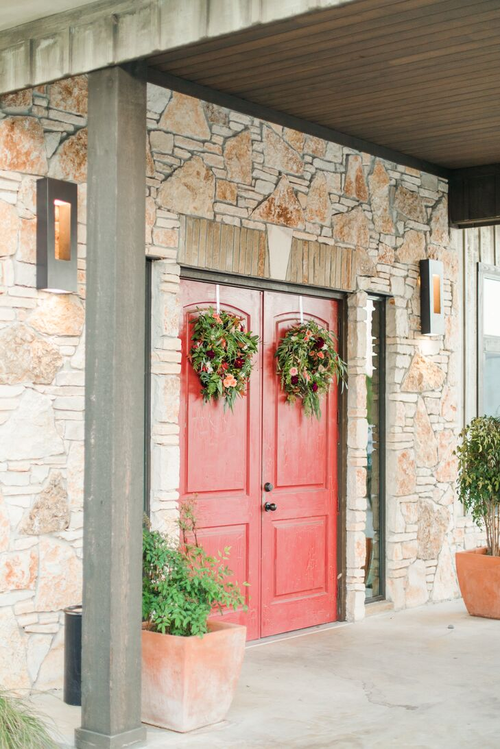 Boho Wreaths Hanging on Red Doors at Paniolo Ranch