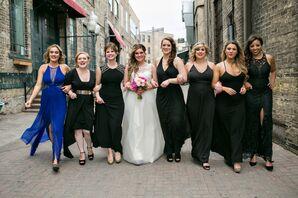 Modern Mismatched Black Bridesmaid Dresses