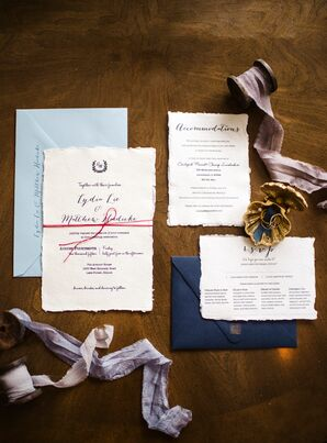 Navy and White Invitations Honoring Chinese Heritage