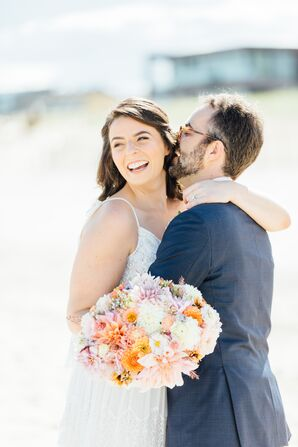 Casual Bride on the Beach with Bright Bouquet of Dahlias