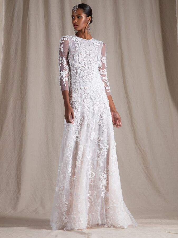 Naeem Khan beaded Chantilly lace column dress with long sleeves