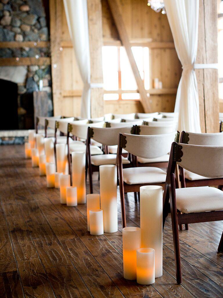 Elegant pillar candles for wedding ceremony
