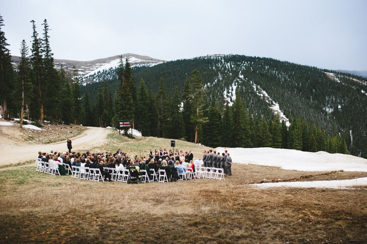 """Our nuptials took place on a ski run named Anticipation that overlooks a run into the outback but has amazing views of some of the mountains we call home,"" Grace says."