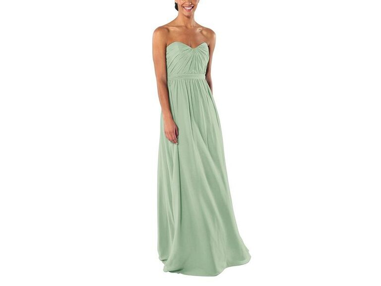 Strapless green affordable bridesmaid dress