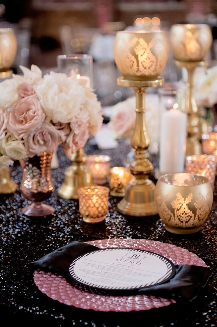 Black Sequin Linens and Gold Votive Candles