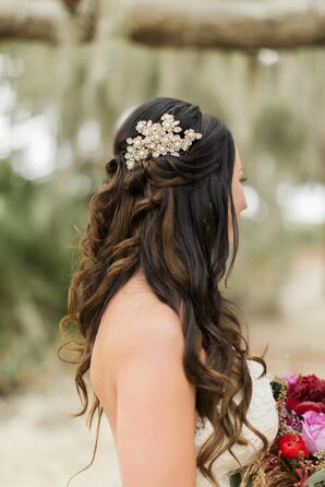 Down Bridal Hairstyle with Jeweled Hairpiece