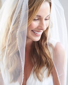 Dareth Colburn Simple Pearl Edge Wedding Veil (VB-5046) Ivory, White Veil