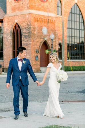 Couple Portraits at Classic Garden Wedding in Wilmington, North Carolina