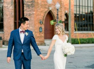 Although Emily and Sunny live in Washington, DC, the couple chose to return to Emily's hometown of Wilmington, NC, for their classic garden-inspired w