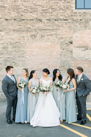 Blue Wedding Party Attire at Industrial Chic Wedding in Downtown Minneapolis