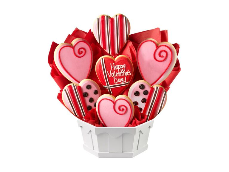 Bouquet of colorful pink and red sugar cookies for Valentine's Day