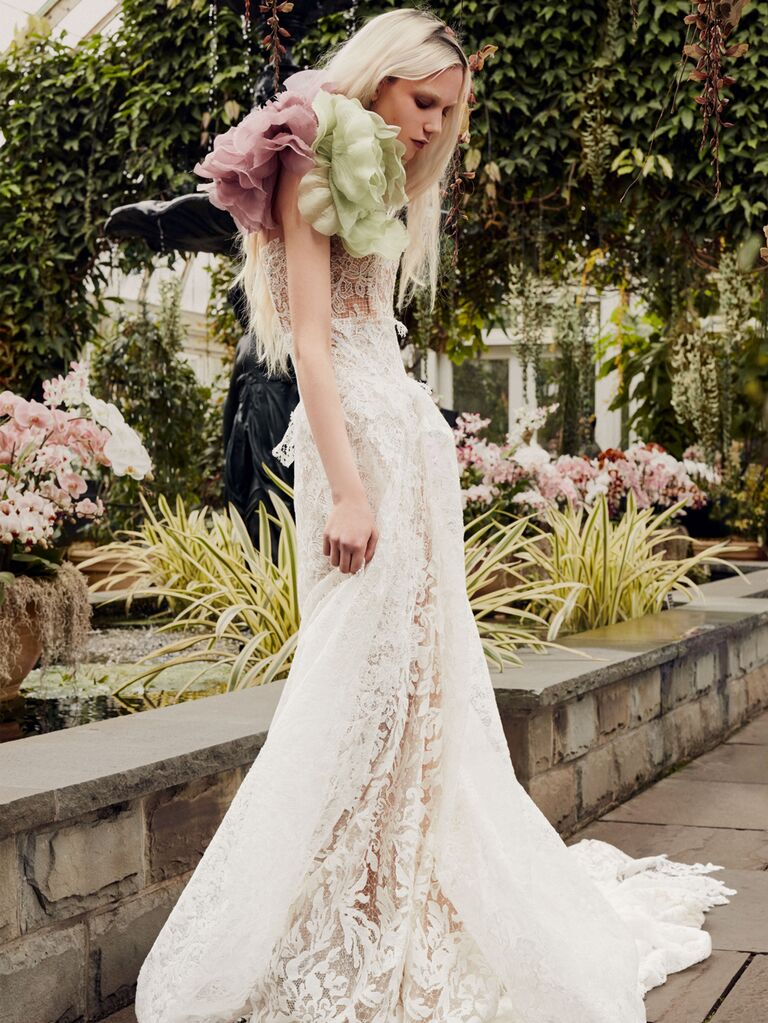 Vera Wang Spring 2020 Bridal Collection lace wedding dress with oversize floral details
