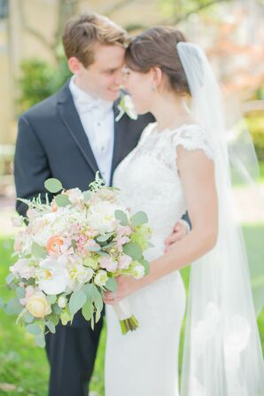 White, Peach and Green Spring Bridal Bouquet