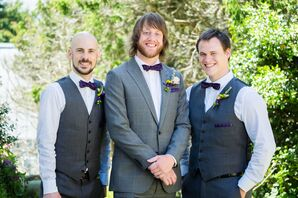 Groom and Groomsmen in Gray Suits with Plum Accents