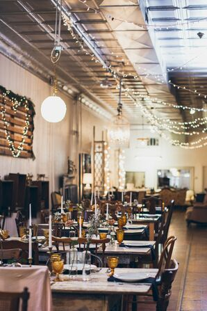 Antique Wedding Tablescapes at The Turn Vintage Warehouse in Newport, Kentucky