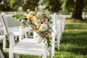 Blush and Ivory Floral Arrangement Aisle Decor