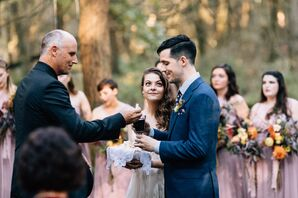 Drinking Wine at Rustic Outdoor Wedding Ceremony