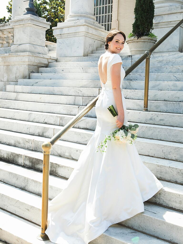 Low-back Rivini wedding gown