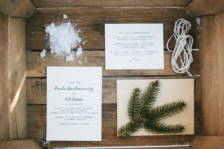 Paula created all the wedding invitations and save-the-dates herself. She did the invites on cream-colored card stock, wrapped in matching speckled yarn. Paula used brown kraft paper to make the save-the-dates.