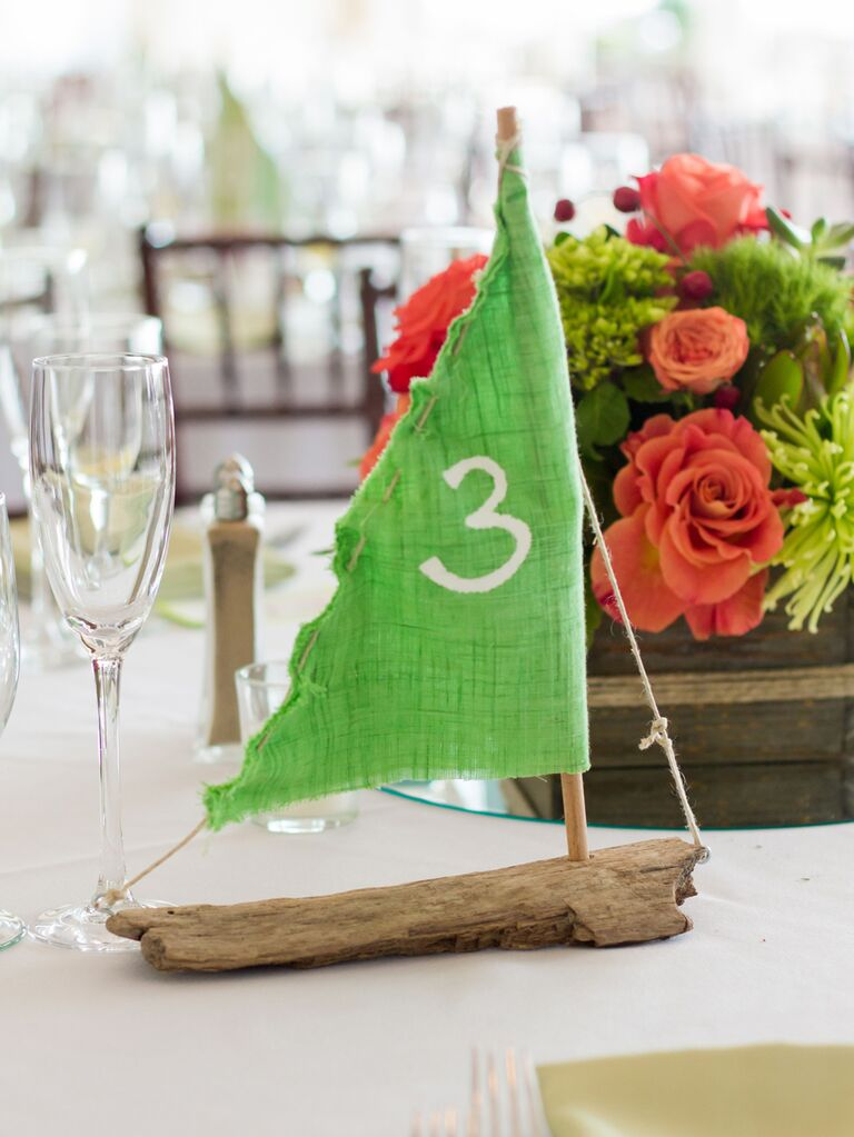 Driftwood sailboat wedding table number