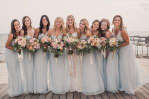 Amsale Pale Blue Chiffon Bridesmaid Dresses