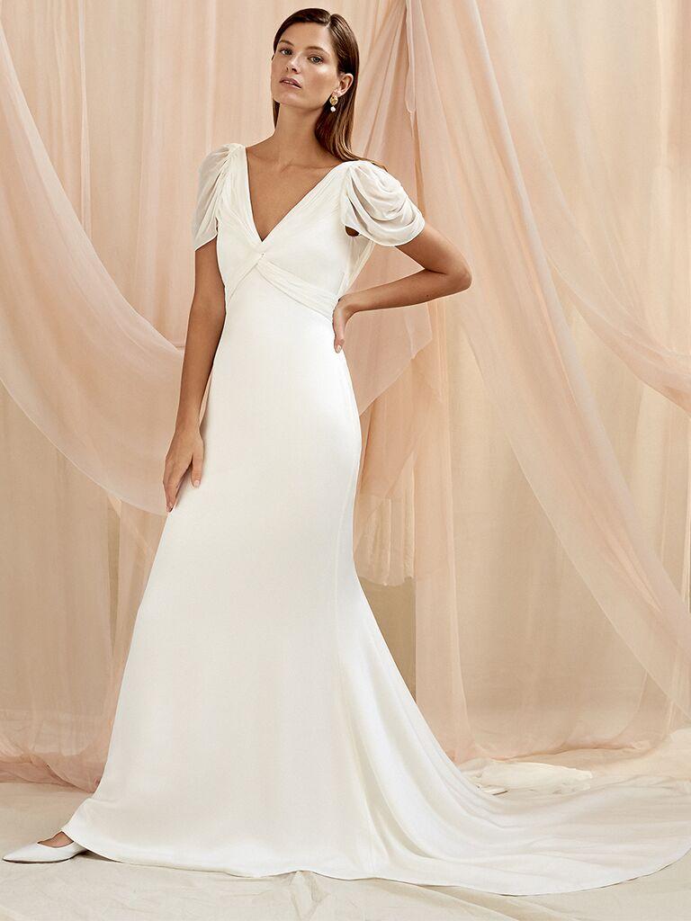 Savannah Miller A-lien wedding dress with cap sleeves