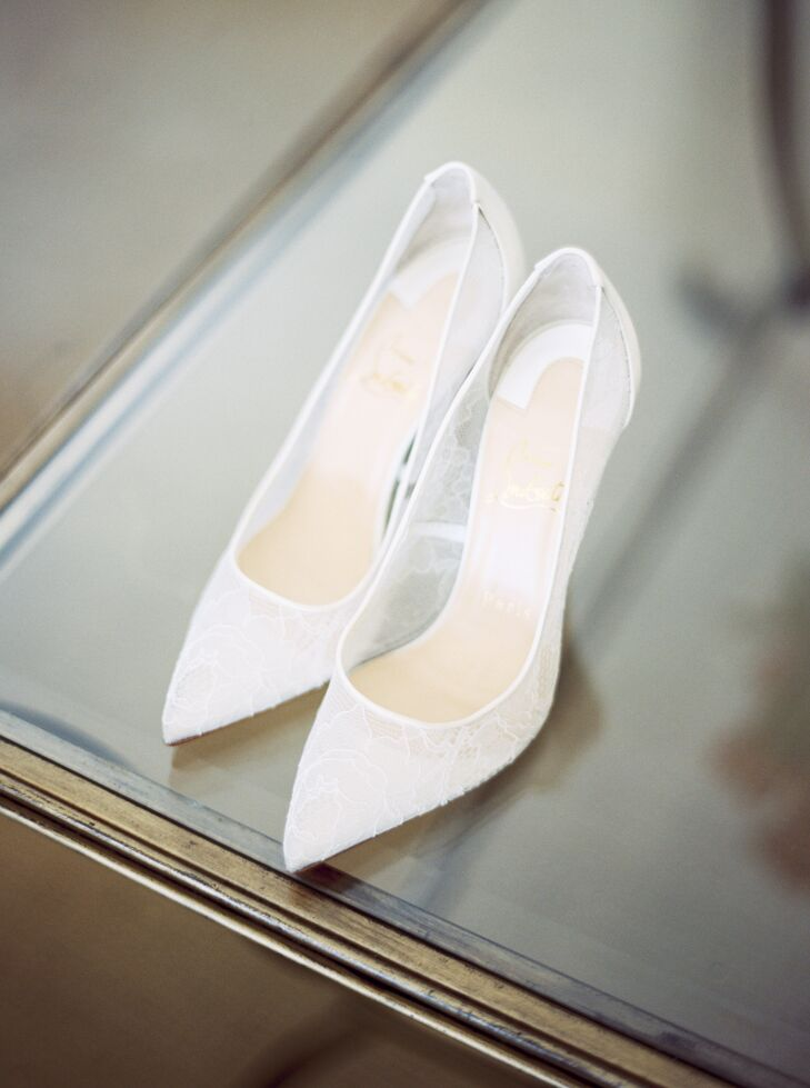christian louboutin white bridal shoes