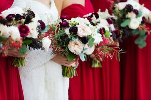 Dramatic Scabiosa and Garden Rose Bouquets
