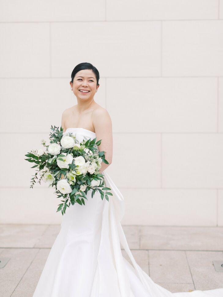 Bride in Strapless Dress for Wedding at Segerstrom Center for the Arts in Costa Mesa, California