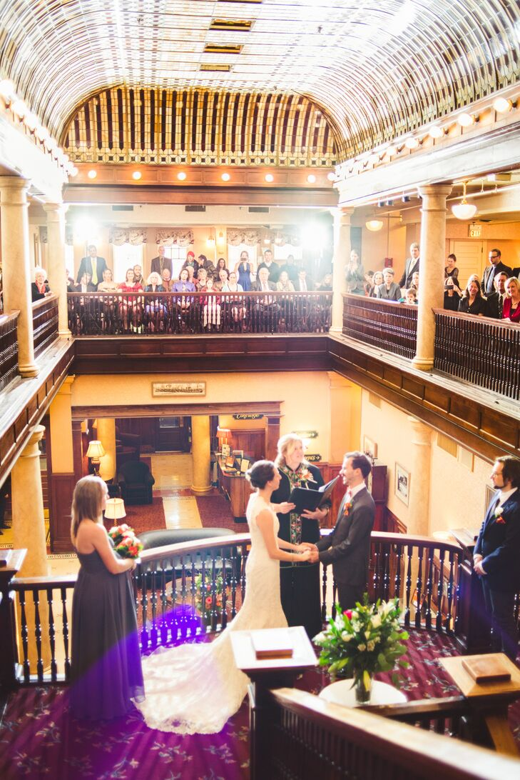 Since Laura and Amory are from Colorado (and their families still live there), they decided Boulder would be the perfect place for their winter wedding. They chose Hotel Boulderado for the ceremony because of its orange, red and gold ceilings, stunning dark wood detailing and marble pillars. It fit their vintage theme perfectly.
