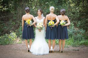 Strapless Navy Knee-Length Bridesmaid Dresses