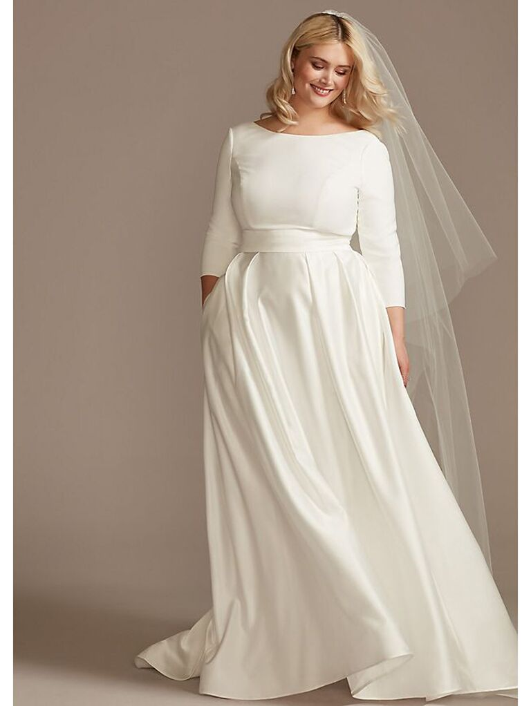 Long sleeve crepe ball gown with cinched waist