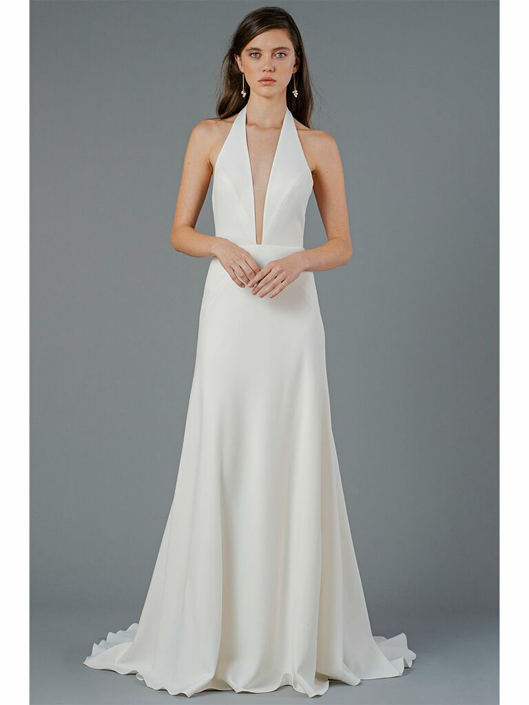 Jenny Yoo wedding dress plunging halter gown