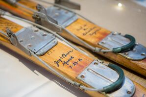 Vintage Skis in Place of Guest Book
