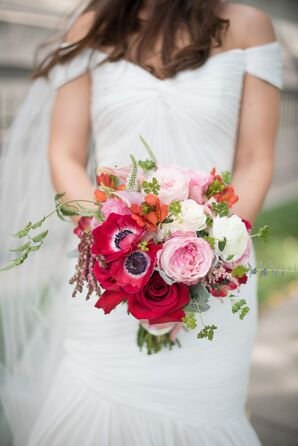 Red, Pink and White Bridal Bouquet