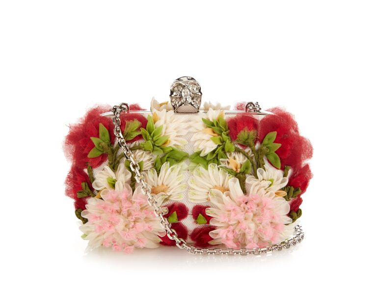 Alexander McQueen Exploded Flowers Skull Clutch Bag