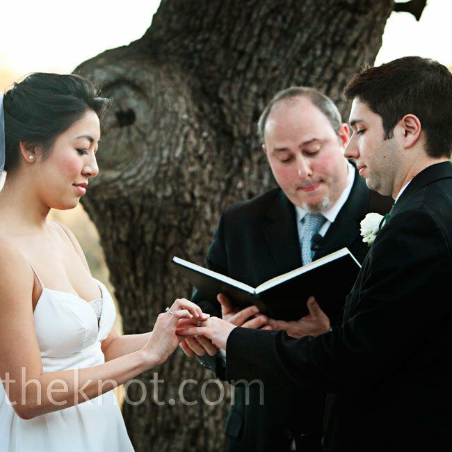 "The couple wrote their own vows and incorporated a traditional Chinese signing cloth, as well as a dance to ""That's Amore!"" in honor of Joe's Italian heritage."