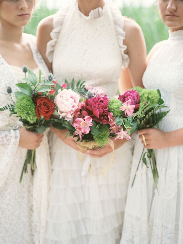 Natural dianthus, rose and peony bouquets