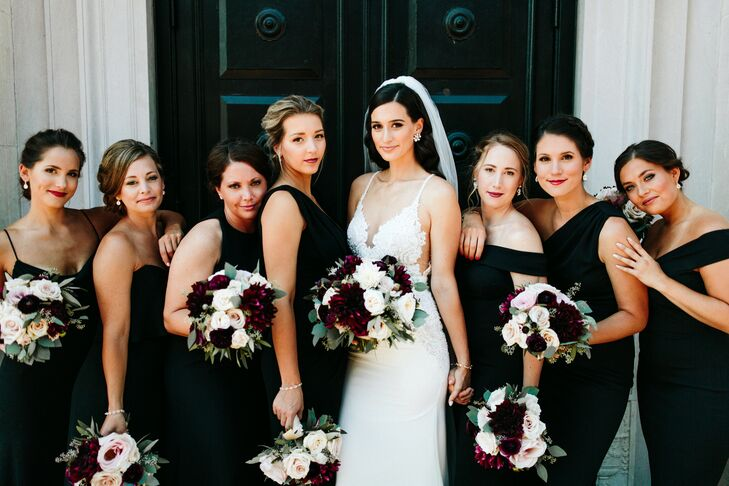 Black Bridesmaid Dresses and Lush Dahlia and Rose Bouquets
