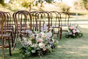 Aisle Floral Arrangements at Wente Winery Wedding