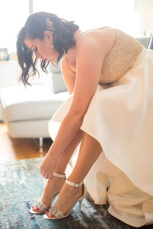 Glamorous, Modern Bride in High-Low Dress and White Ankle-Strap Heels