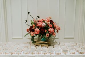 Fiddlehead Fern and Pink Peony Centerpiece