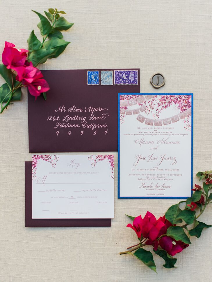 Romantic Burgundy Invitation Suite with Papel Picado Illustration