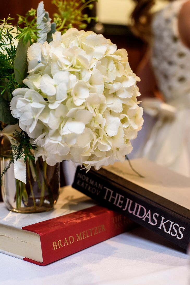 White Hydrangea and Vintage Book Centerpieces