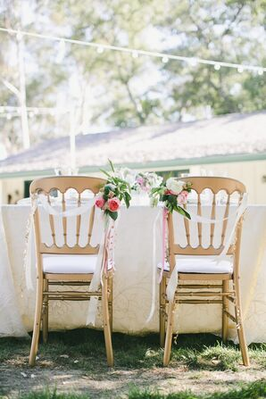 Gold Chairs Wrapped in Ribbon