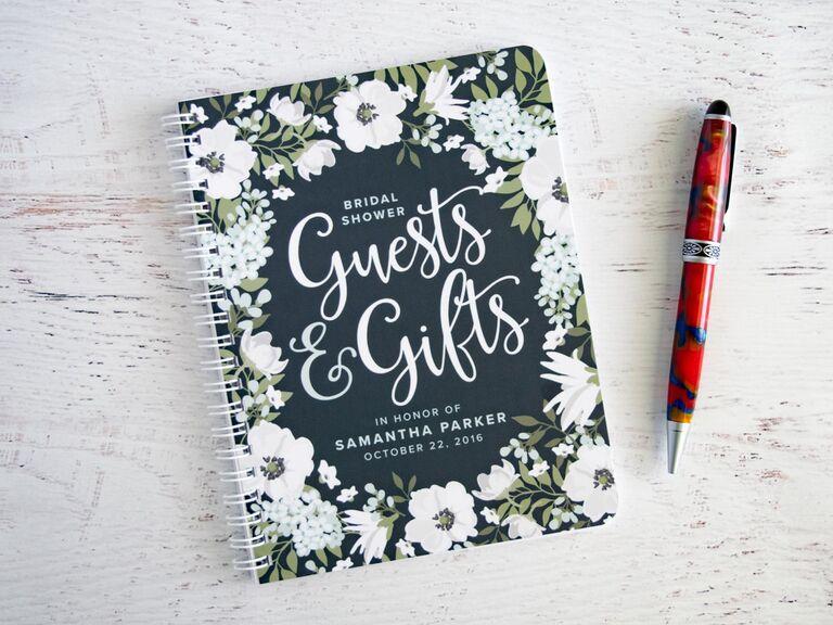 Black and floral ring binder bridal shower guest book