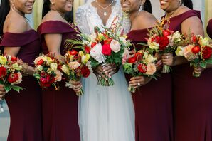 Bridesmaid Bouquets for Wedding at the Gaillard Center in Charleston, South Carolina