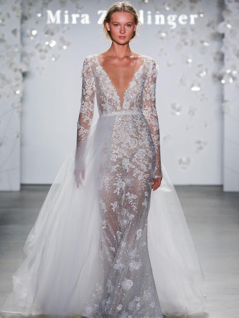 Mira Zwillinger Spring 2020 Bridal Collection embellished V-neck wedding dress with tulle overlay