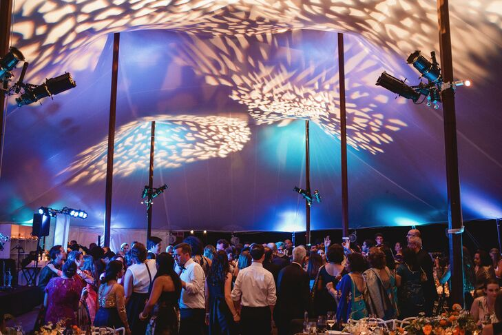 Patterned Ceiling Lights at Tented Reception in Bloomfield Hills, Michigan
